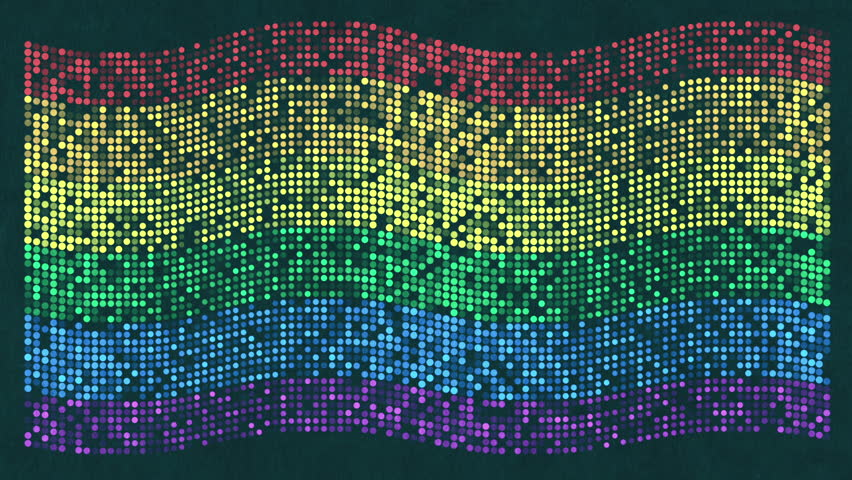 Animation waving of Rainbow flag from flat dots on paper surface. Animation of seamless loop. #25871663