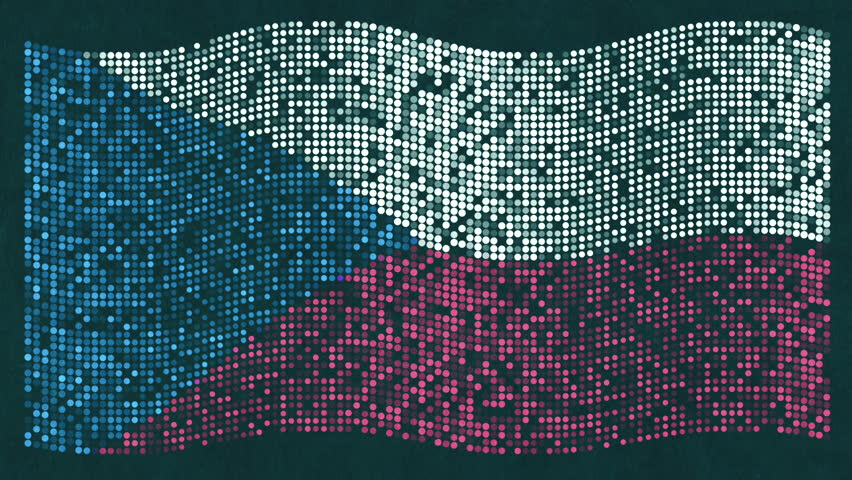 Animation waving of Czech flag from flat dots on paper surface. Animation of seamless loop. #25871726