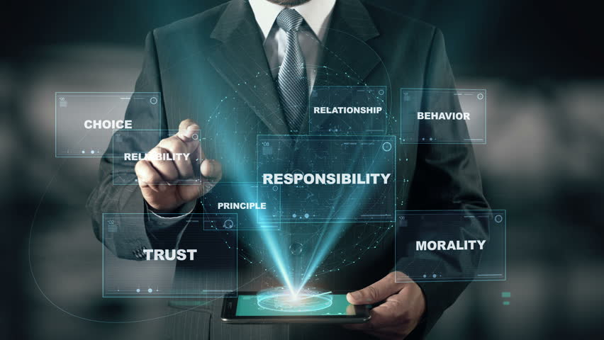 Businessman with Business Ethics hologram concept choose Reliability from words | Shutterstock HD Video #25884134