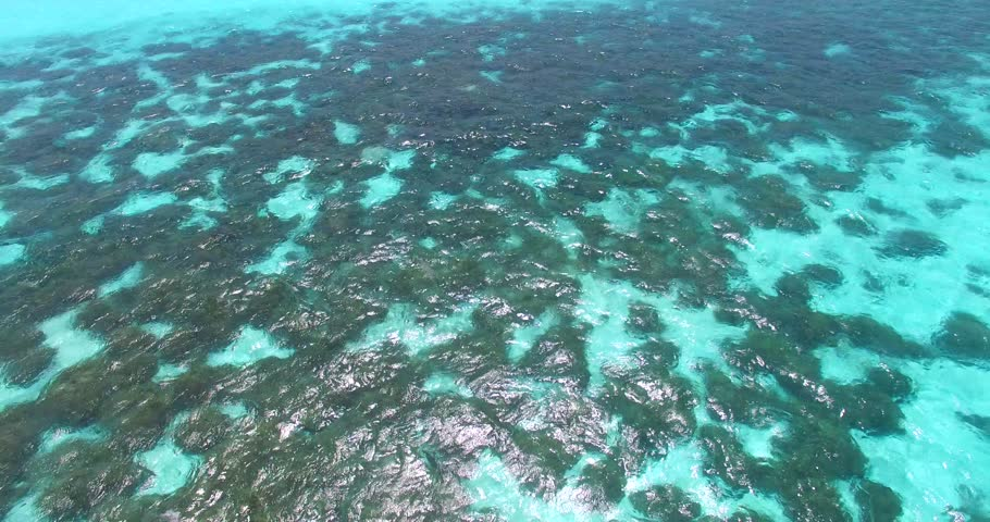 v00874 Maldives beautiful beach background white sandy tropical paradise island with blue sky sea water ocean 4k aerial drone flying flyover birds eye coral reef #25889228