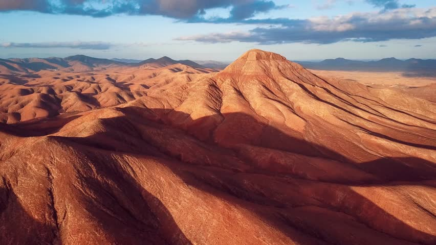 Flight over desert aerial landscape, Fuerteventura island, Spain | Shutterstock HD Video #25901906
