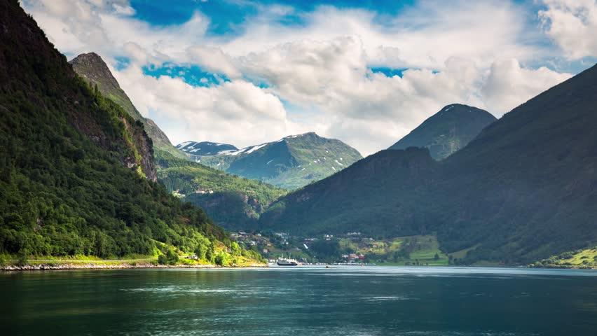 Timelapse, Geiranger fjord, Norway. It is a 15-kilometre (9.3 mi) long branch off of the Sunnylvsfjorden, which is a branch off of the Storfjorden (Great Fjord).   Shutterstock HD Video #25916054
