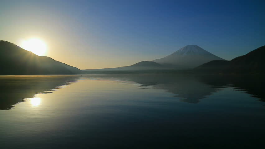 Sunrise and Mt. Fuji  from Lake Motosu with sound | Shutterstock HD Video #25966286
