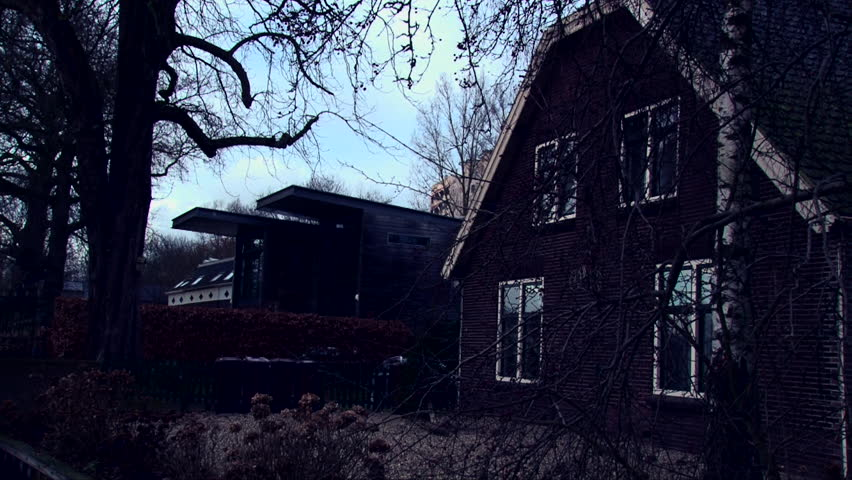 Horror abandoned house in old european city, dark creepy shot | Shutterstock HD Video #25966532
