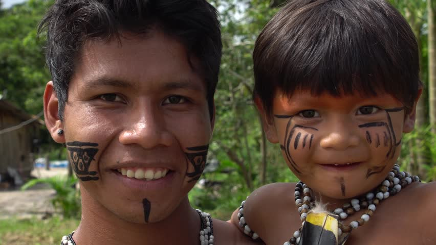 Father and Son at an indigenous tribe in the Amazon