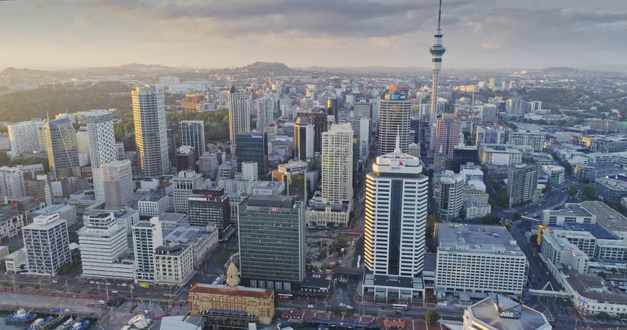 Aerial View Of Auckland City Skyline, New Zealand