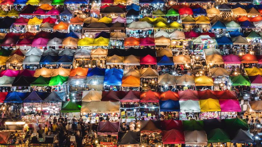 Train Night Market Ratchada time lapse view in Bangkok, Thailand.