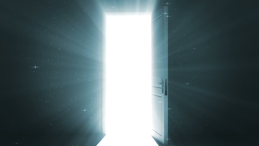 Door opening to a heaven light. Sparks flying. Alpha Channel is included. HD 1080.