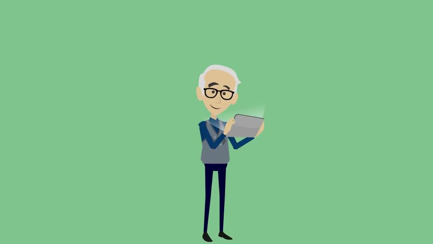 An elderly man looks at the tablet and expresses a stormy emotion of joy, a cheerful animated cartoon on a green background, one person uses a tablet device