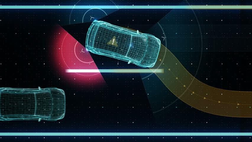 Avoiding collisions, Lane departure prevention, Autonomous vehicle, Automatic driving technology. Unmanned car, IOT connect car. X-ray image.