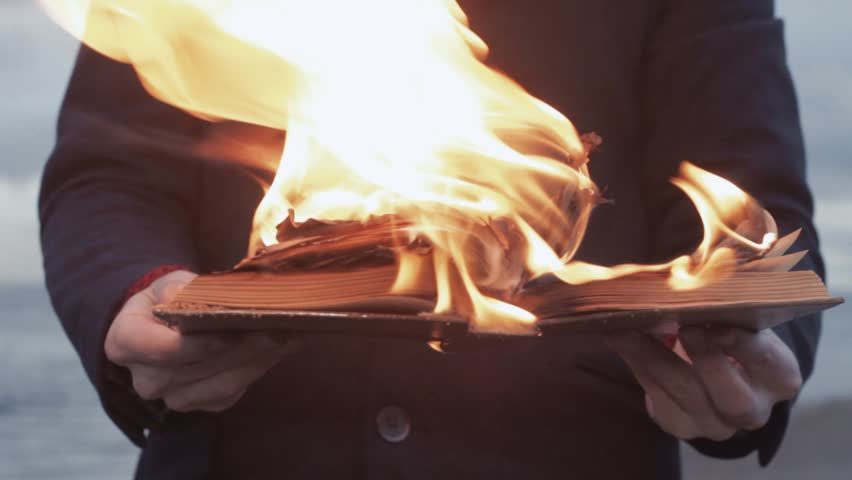 Young man dressed in gray coat with a burning book in hand standing on coast storm clouds on background strong bright flame surrealistic picture | Shutterstock HD Video #26027990