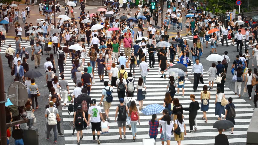 Tokyo, Japan - August 30, 2016: People on famous Shibuya Crossing. Crowd walking across the road on pedestrian crossing | Shutterstock HD Video #26043959