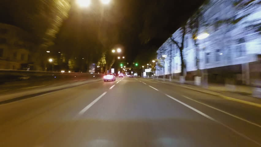 Timel apse of night streets driving. Car windshield pov point of view. City streets high speed driving. | Shutterstock HD Video #26061065
