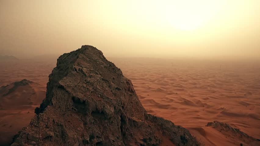 Cinematic mountain in Dubai desert