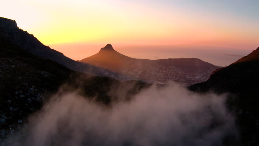Drone reveal trough the trees on Signal hill into Cape Town city during sunrise.