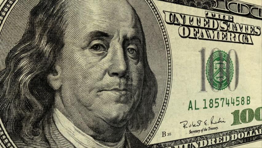 Cash 002: President Benjamin Franklin on a one hundred dollar bill (Loop). | Shutterstock HD Video #26094683