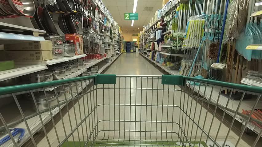 Speed shopper. View from inside shopping cart. | Shutterstock HD Video #26096672