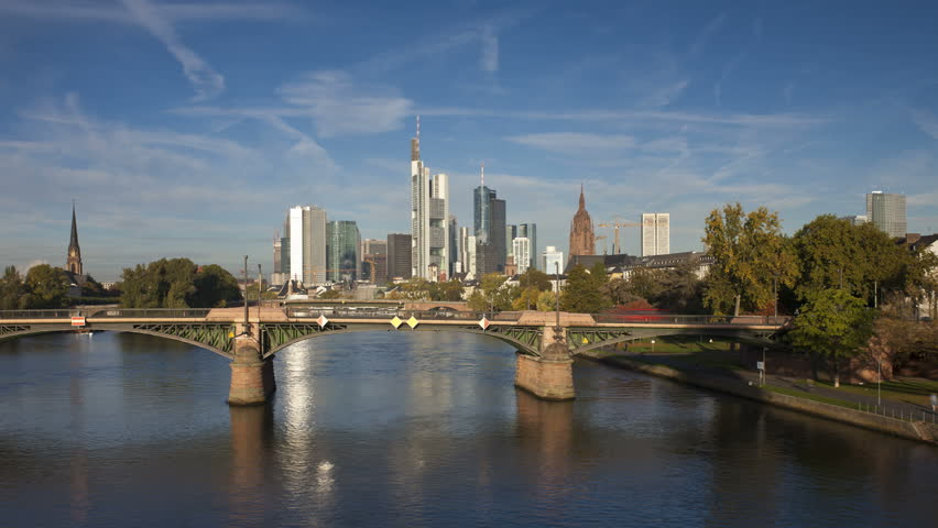 Germany, Frankfurt, city skyline on river bank