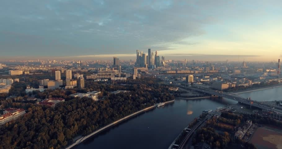 A sunrise aerial shot of skyscrapers of Moscow International Business Center, Moscow-city. Moscow aerial high altitude drone flight. Ultra HD 4K.