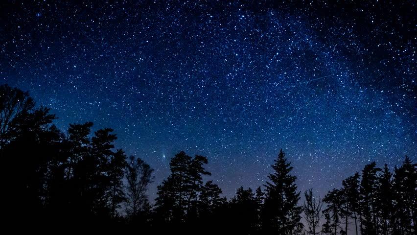 Starry night sky 4k timelapse. 3840x2160, UHD