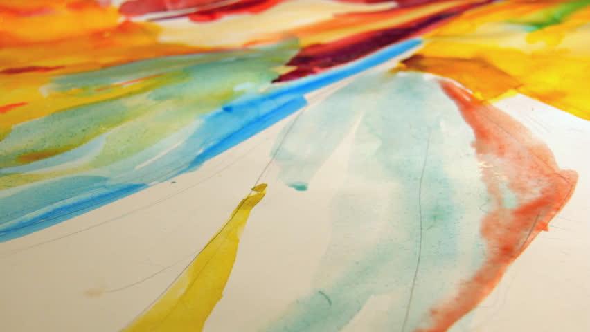 Woman artist painting watercolor paints | Shutterstock HD Video #2616524