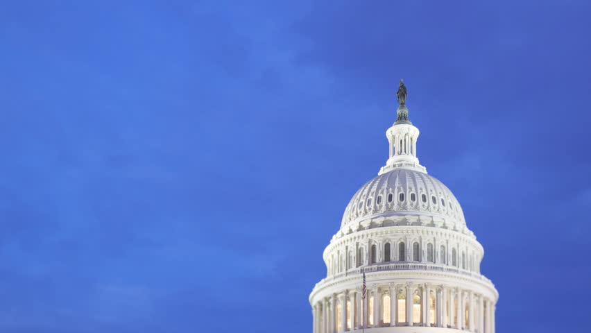 Predawn Light Over Capitol Dome Signals Change in Washington DC with Time Lapse