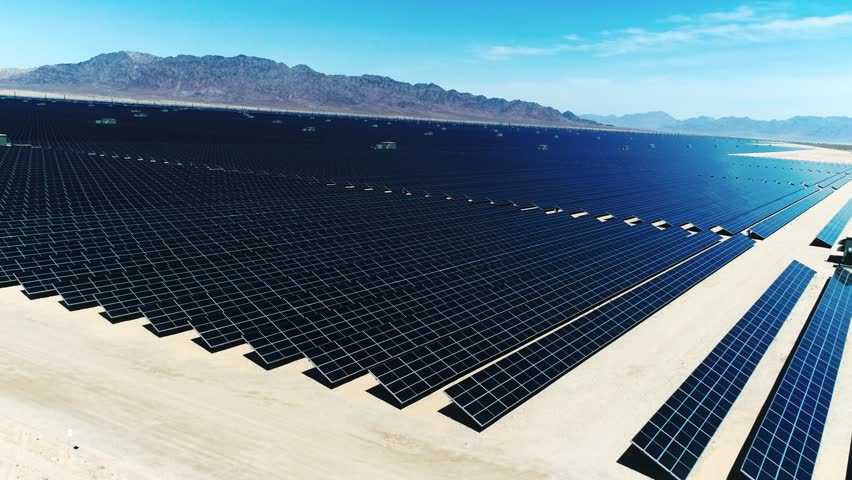 Solar Panels, Alternative energy / One of the biggest Solar Farms in the World / Aerial, Drone Shot (Slow motion) #26185055