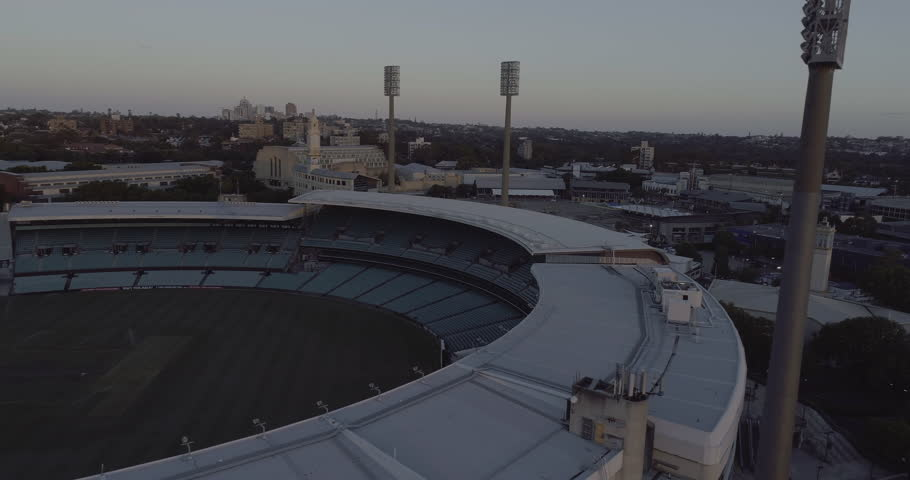 Aerial view over Sydney Football Stadium - SFS - grandstand. Sydney Australia