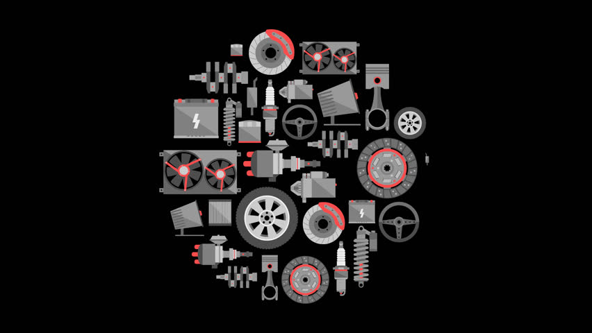Auto spare parts. Car repair icons in flat style. Video animation, Full HD 1920x1080 with alpha channel.