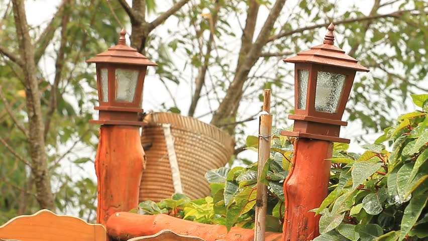 Natural wood lanterns in the resort | Shutterstock HD Video #2622524