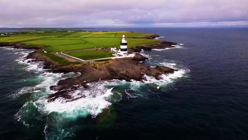 Aerial video of Hook Head Lighthouse Co. Wexford Ireland