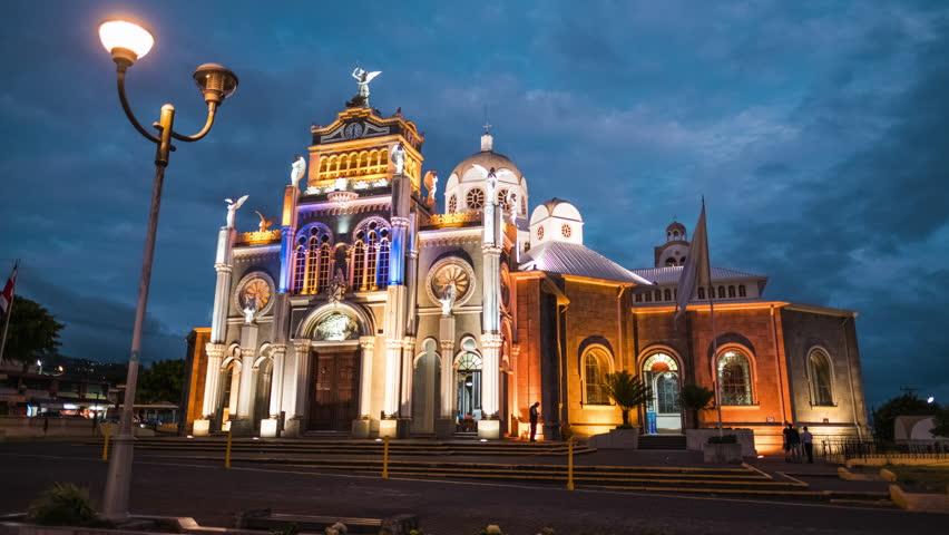 Time lapse of the Basilica de Nuestra Senora de los Angeles in the city of Cartago, Costa Rica Royalty-Free Stock Footage #26234837