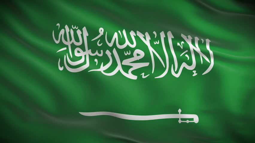 Highly detailed flag of Saudi Arabia ripples in the wind. Looped 3d animation for continuous playback.