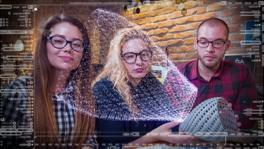 Team Of Young Man And Women Designers Working On 3D Touch Screen Hologram Augmented Reality 3D Model For 3D Printing Future Technology Innovation Concept