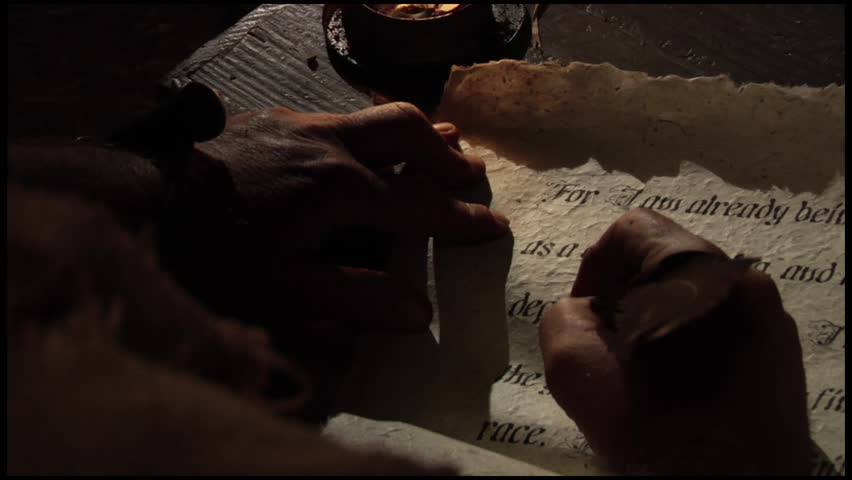 Paul the Apostle in Prison Point of View Writes Epistles on Original Scroll