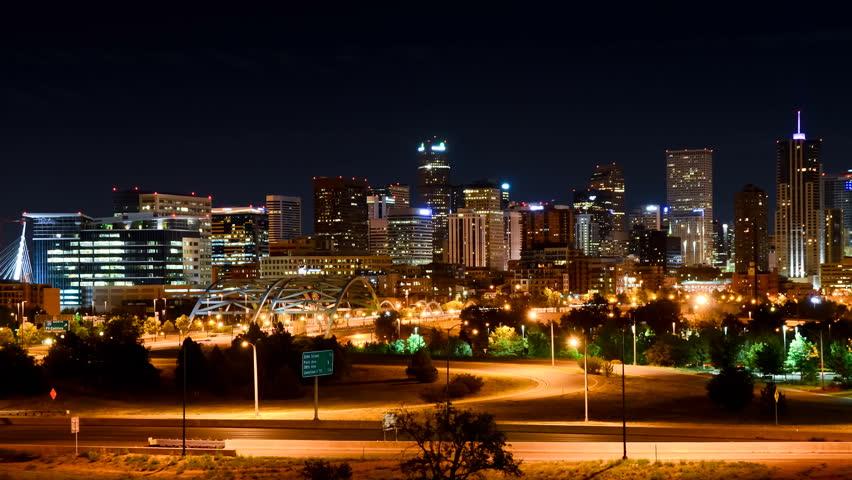 Denver at night slow pan time-lapse 1080p