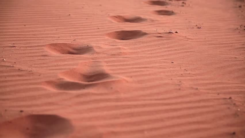 Footprints on red sand in Wadi Rum desert, also known as The Valley of Moon in Hashemite Kingdom of Jordan Royalty-Free Stock Footage #26332700