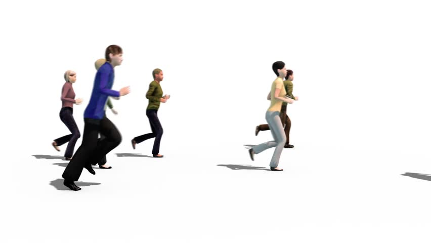 Crowd People Run Running Side Alpha Matte 3D Rendering Animation
