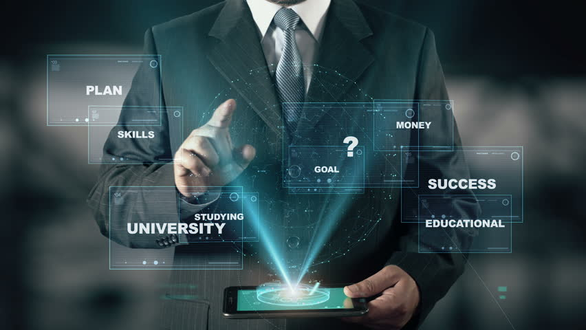 Businessman with Scholarship hologram concept | Shutterstock HD Video #26370398