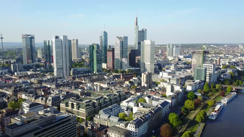 Aerial View Frankfurt Bridge Germany  | Shutterstock HD Video #26384000