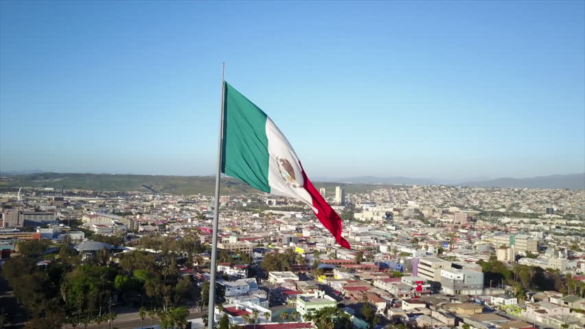 Mexican Flag waving high over Mexico
