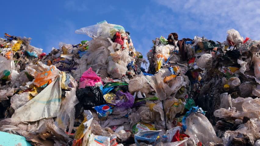 Waste heaps at the dump. Close up.4K.   Shutterstock HD Video #26402855