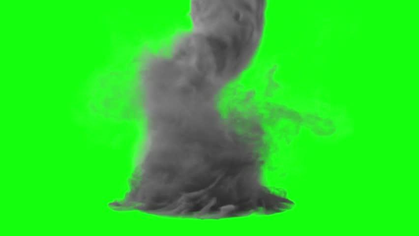 Tornado Storm Hurricane Green Screen 3D Rendering Animation