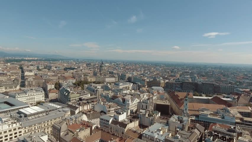 Budapest, Aerial view over the center to the elizabeth bridge in Budapest, Hungary.   | Shutterstock HD Video #26444732
