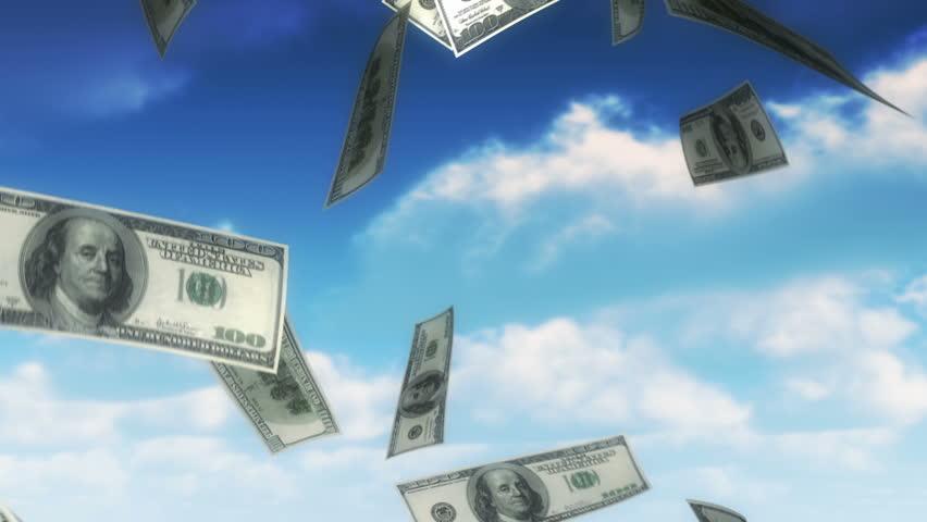 Money from Heaven - USD (Loop). 100 dollars bills falling from sky. Seamless loop, slight motion blur for realistic movement. | Shutterstock HD Video #2645087