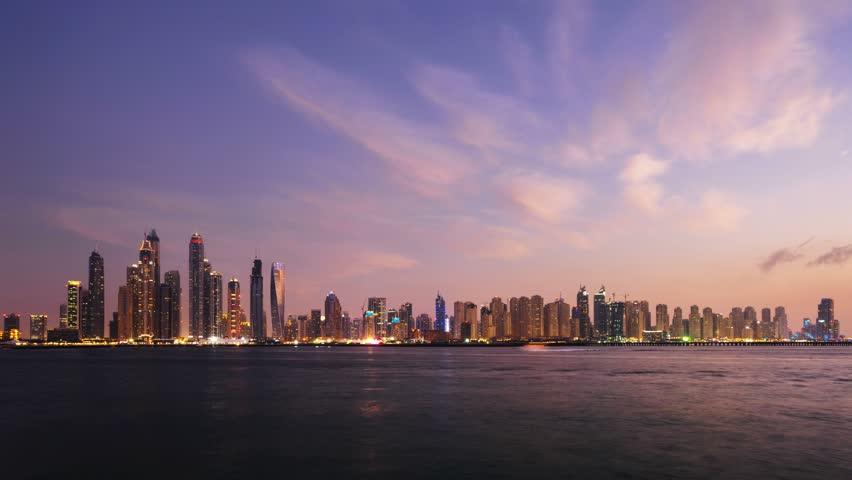 Timelapse of skyscrapers in Dubai Marina, sunset time, UAE   Shutterstock HD Video #26459552