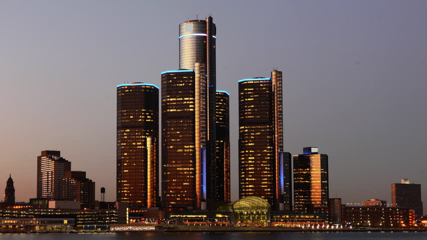 Day to night timelapse of the Detroit skyline