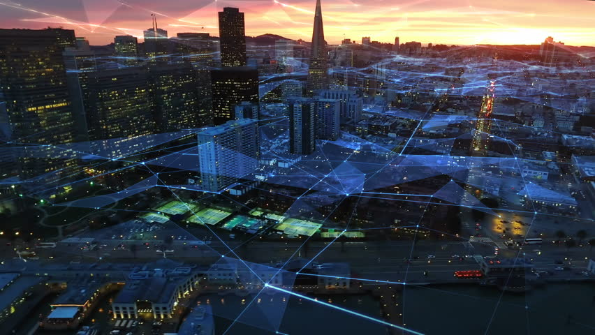 Connected San Francisco skyline. Financial District at dusk. Aerial view. California, United States. Futuristic network. Technology. Shot from helicopter.