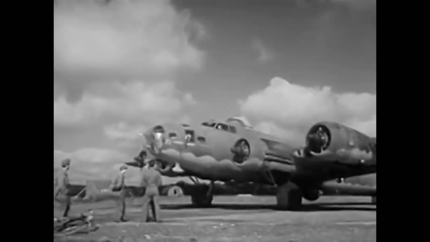 1940s: B-17 aircraft, or 'Flying Fortresses' take off from an American air base on route to an air raid over Europe in the 1940s.
