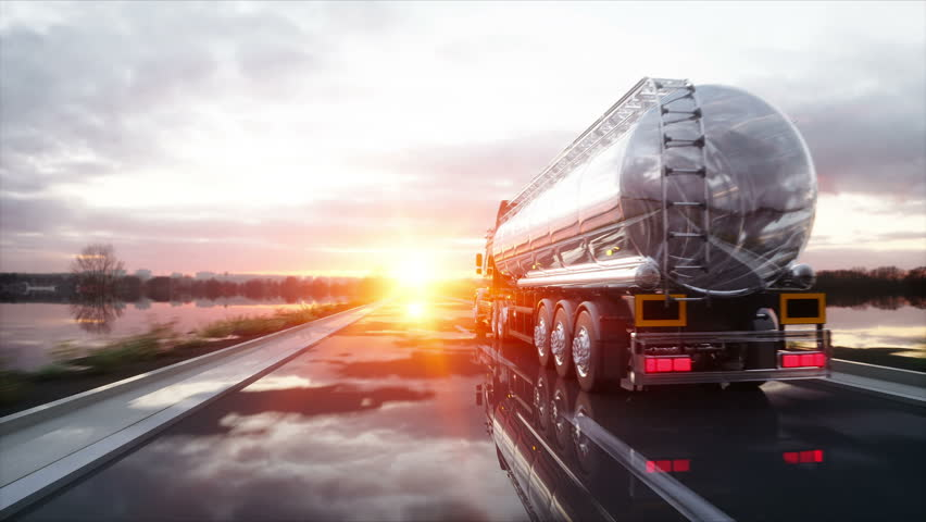 Gasoline tanker, Oil trailer, truck on highway. Very fast driving. Realistic 4K animation. Royalty-Free Stock Footage #26513798